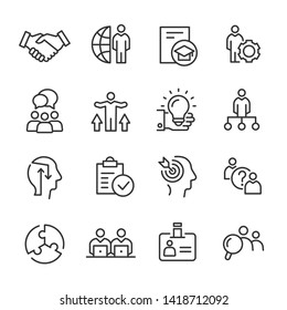 Vector Line icons of business consulting.