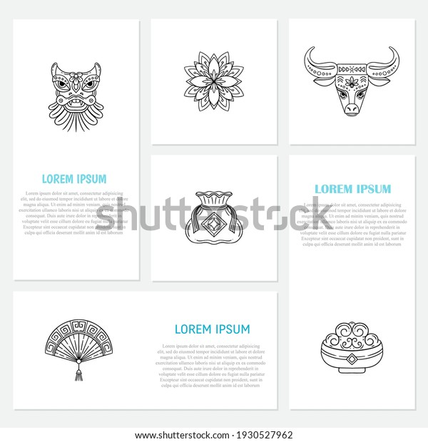 Vector line icons with Chinese lunar calendar symbols isolated on white background. Chinese new year 2021