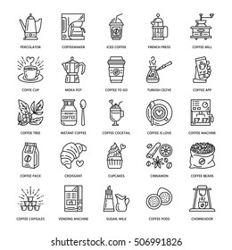 Vector line icons of coffee making equipment. Elements - moka pot, french press, grinder, espresso, vending, coffee tree. Linear restaurant, shop pictogram with editable stroke for menu