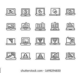 Vector line icons collection of IT analytics. Vector outline pictograms isolated on a white background. Line icons collection for web apps and mobile concept. Premium quality symbols