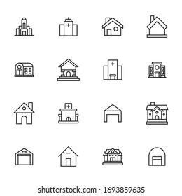 Vector line icons collection of building. Vector outline pictograms isolated on a white background. Line icons collection for web apps and mobile concept. Premium quality symbols