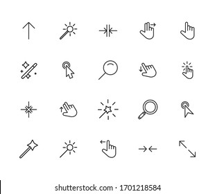 Vector line icons collection of cursors. Vector outline pictograms isolated on a white background. Line icons collection for web apps and mobile concept. Premium quality symbols