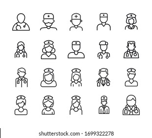 Vector line icons collection of doctor. Vector outline pictograms isolated on a white background. Line icons collection for web apps and mobile concept. Premium quality symbols
