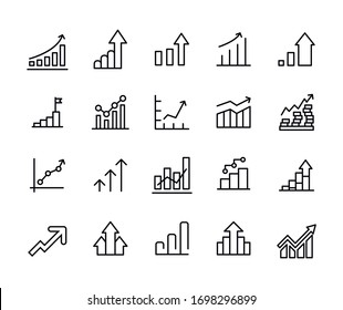 Vector line icons collection of growth. Vector outline pictograms isolated on a white background. Line icons collection for web apps and mobile concept. Premium quality symbols