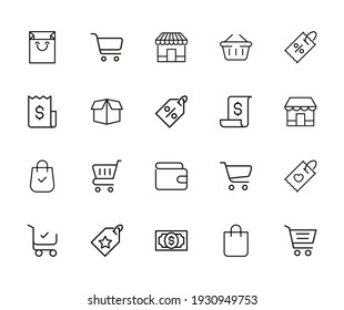 Vector line icons collection of market. Vector outline pictograms isolated on a white background. Line icons collection for web apps and mobile concept. Premium quality symbols