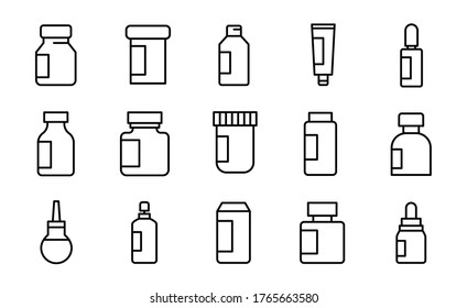 Vector line icons collection of medicine. Vector outline pictograms isolated on a white background. Line icons collection for web apps and mobile concept. Premium quality symbols