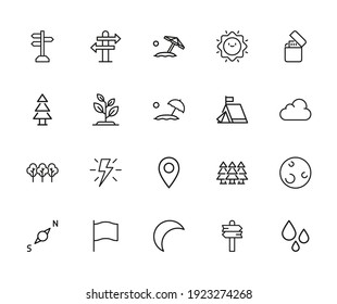 Vector line icons collection of outdoors. Vector outline pictograms isolated on a white background. Line icons collection for web apps and mobile concept. Premium quality symbols