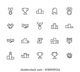 Vector line icons collection of trophy. Vector outline pictograms isolated on a white background. Line icons collection for web apps and mobile concept. Premium quality symbols