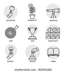 vector line icons of concepts like discovery, innovation, invention. it also represents concepts like construction, building, aiming, target, knowing, knowledge, victory, competition, observation