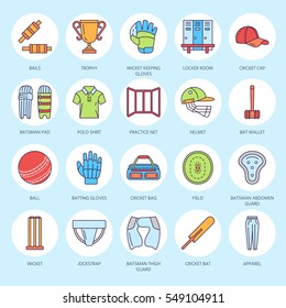 Vector line icons of cricket sport game. Ball, bat, wicket, helmet, batsman gloves. Linear signs set, championship pictograms for event, equipment store.