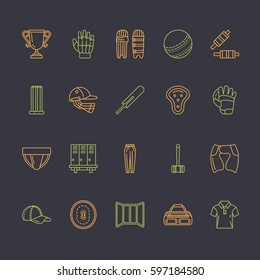 Vector line icons of cricket sport game. Ball, bat, wicket, helmet, batsman gloves. Linear signs set, championship pictograms with editable stroke for event, equipment store.