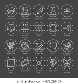 Vector line icons of fabric feature, garments property symbols. Elements - cotton, wool, waterproof, uv protection. Linear wear labels, textile industry pictogram with editable stroke for clothes.