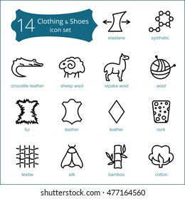 Vector line icons of fabric feature, garments property symbols. Elements - cotton, wool, waterproof, leather, crocodile leather, cork icon. Linear wear labels, textile industry pictogram.