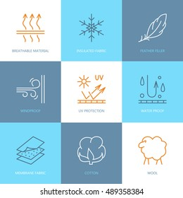 Vector line icons of fabric feature, garments property symbols. Elements - wind proof, wool, waterproof, uv protection. Linear wear labels, textile industry pictogram for clothes.