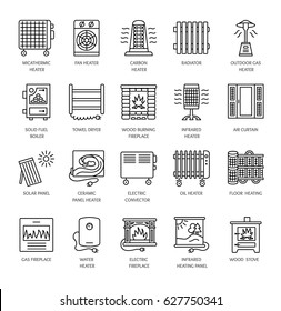 Vector line icons with radiator, convector and fireplace. Heating equipment for home and office. Different styles of gas, oil & electric heaters. Solar panel. Wood stove. Elements for space warming.