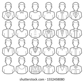 Vector line icons set of clothes men. Modern flat style design. Isolated on white background