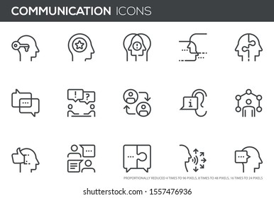 Сommunication Vector Line Icons Set. human communication, personal interaction, dialogue, conversation, discussion. Perfect pixel icons, such can be scaled to 24, 48, 96 pixels.