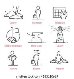 Vector line icons set with Human resources, career and business symbols, consulting and coaching. For infographics, UX UI kit, web design mobile prototypes and more