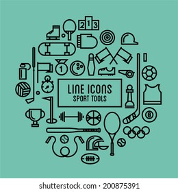 vector line icons sport tools
