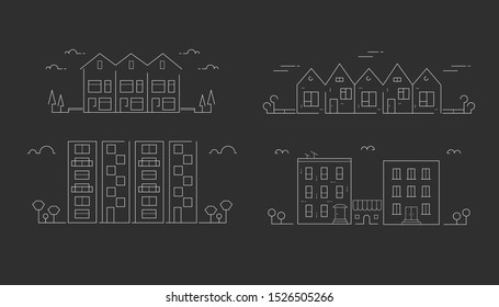 Vector line icons. Townhouse building apartment. Urban architecture.
