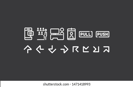 vector line icons use in wayfinding system