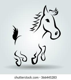 Vector line illustration of cartoon horse