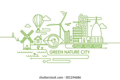 Vector line illustration of city development, future city