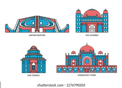 Vector line illustration of Famous Indian monument and Landmark