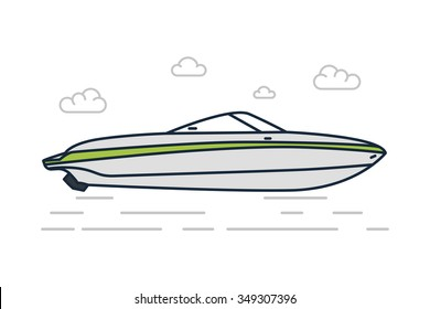 Vector Line Illustration of Gray Speed boat icon, symbol
