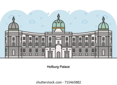 Vector line illustration of Hofburg Imperial Palace, Vienna, Austria.
