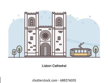 Vector line illustration of Lisbon Cathedral, Portugal.