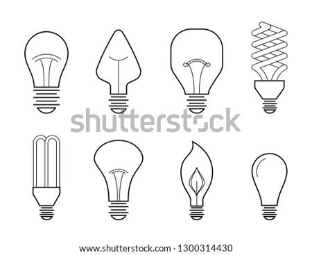 Vector Line Illustration Main Electric Lighting Stock Vector