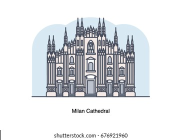 Vector line illustration of Milan Cathedral, Milan, Italy.
