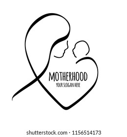 Vector line illustration Mother holding newborn baby. Motherhood. Contour symbol.  isolated outline drawing.