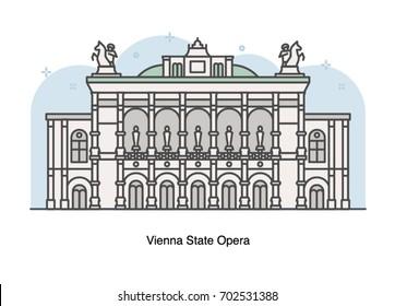 Vector line illustration of Vienna State Opera, Austria.