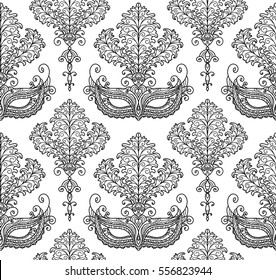 vector, line, illustration, vintage, seamless pattern, mask, feathers, masquerade, holiday, Mardi Gras, design element, coloring page, packaging