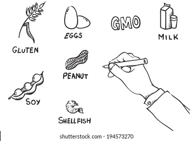vector line illustrations with different food allergies