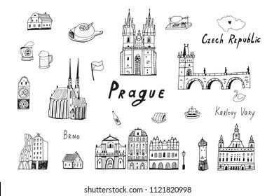 Vector line illustrations set of Prague, Czech republic travel landmarks