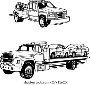 vector line illustrations of tow trucks