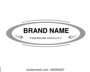 Vector line label. Oval frame for Brand name. Monochrome design.