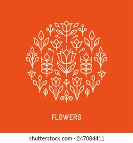 Vector line logo and emblem with flowers and leaves - design element in outline style