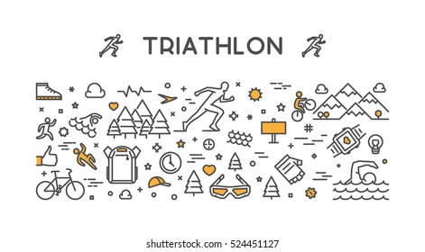 Vector line logo triathlon. Figures triathletes on white background. Swimming, cycling and running symbol.
