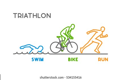 Vector line logo triathlon. Figures triathletes on white background. Swimming, cycling and running icon.