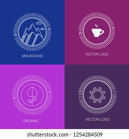 Vector line logos and icons. Line design elements for invitations and greeting cards. Vector emblems and badges. Abstract hipster logo templates.