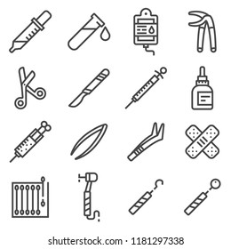 Vector line Medical Equipment and Supplies Icons Set. Medical Grapple, Dropper, Scaler, Perfusion, Dental Drill, Medical Scrissors, Syringe, Scalpel, Tweezer and more
