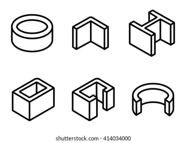Vector line metal profilies icons set. Steel product and construction material icon