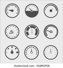Vector line meter icon set.