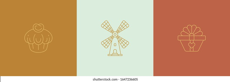 Vector line minimal decoration design elements set - wind mill and gift box illustrations simple minimal linear style. Bundle mystical outline graphics for logo emblems and product packaging