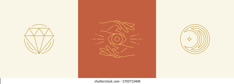 Vector line minimal decoration design elements set - moon and gesture hands illustrations simple minimal linear style. Bundle mystical outline graphics for logo emblems and product packaging