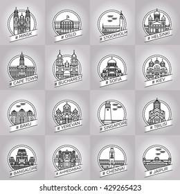 vector line minsk, oslo, stockholm, helsinki, cape town, bucharest, sofia, kiev, baku, yerevan, singapore, tbilisi, bangalore, ahmedabad, chennai, jaipur city badge collection set